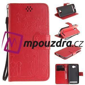 Dandelion PU kožené pouzdro na mobil Huawei Y3 II - červené - 1