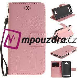 Dandelion PU kožené pouzdro na mobil Huawei Y3 II - růžové - 1