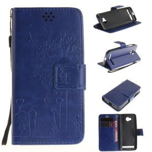 Dandelion PU kožené pouzdro na mobil Huawei Y3 II - modré - 1