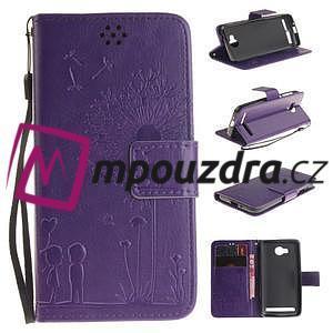 Dandelion PU kožené pouzdro na mobil Huawei Y3 II - fialové - 1