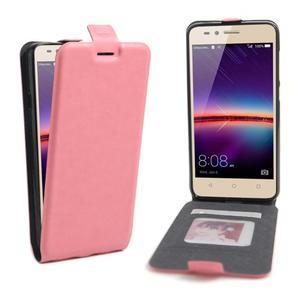 Flipové PU kožené pouzdro na Huawei Y3 II - růžové - 1