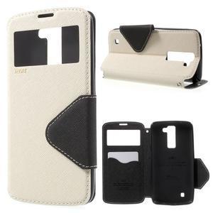 Diary PU kožené pouzdro s okýnkem na LG K8 - bílé - 1