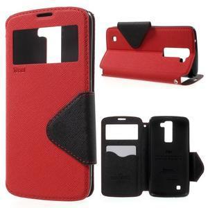 Diary PU kožené pouzdro s okýnkem na LG K8 - červené - 1