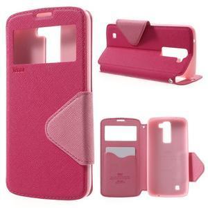 Diary PU kožené pouzdro s okýnkem na LG K8 - rose - 1