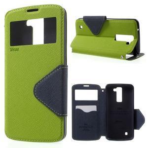 Diary PU kožené pouzdro s okýnkem na LG K8 - zelené - 1