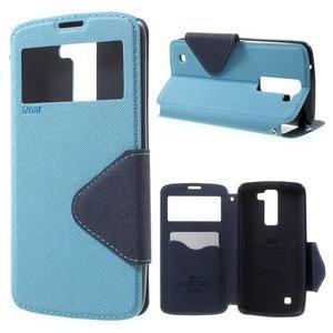 Diary PU kožené pouzdro s okýnkem na LG K8 - světlemodré - 1