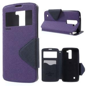 Diary PU kožené pouzdro s okýnkem na LG K8 - fialové - 1