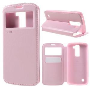 Richi PU kožené pouzdro na mobil LG K8 - růžové - 1