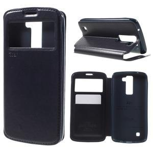 Richi PU kožené pouzdro na mobil LG K8 - tmavěmodré - 1