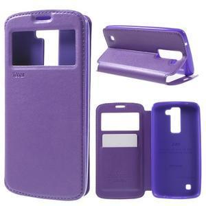 Richi PU kožené pouzdro na mobil LG K8 - fialové - 1