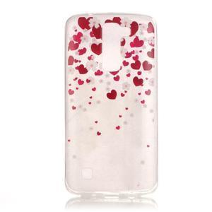 Průhledný gelový obal na telefon LG K8 - srdíčka - 1