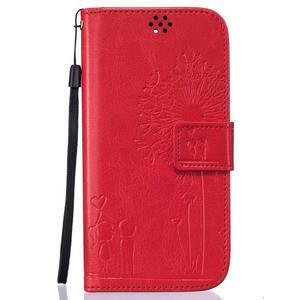 Dandelion PU kožené pouzdro na mobil LG K8 - červené - 1