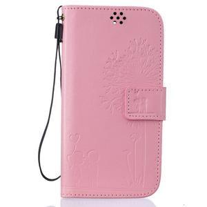 Dandelion PU kožené pouzdro na mobil LG K8 - růžové - 1