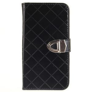 Luxusní PU kožené pouzdro s přezkou na LG K8 - černé - 1