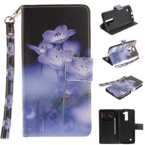 Style PU kožené pouzdro na LG K8 - fialové květiny - 1