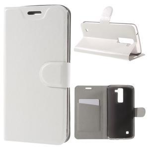 Horse PU kožené pouzdro na mobil LG K8 - bílé - 1