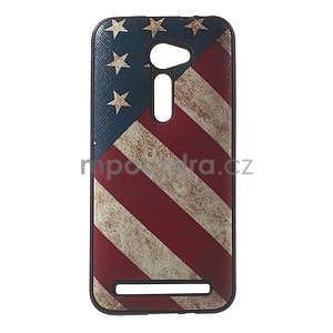Gelový obal s imitací vroubkované kůže na Asus Zenfone 2 ZE500CL - vlajka USA - 1