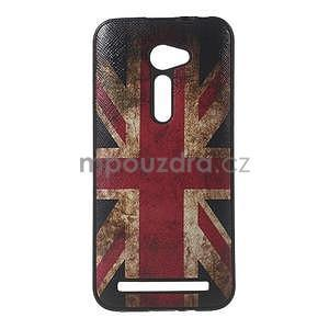 Gelový obal s imitací vroubkované kůže na Asus Zenfone 2 ZE500CL - vlajka UK - 1