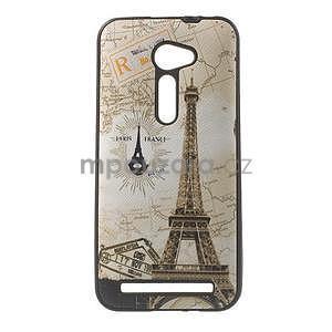 Gelový obal s imitací vroubkované kůže na Asus Zenfone 2 ZE500CL - Eiffelova věž - 1
