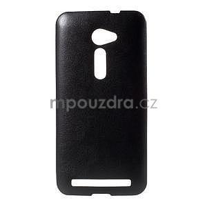 Gelový kryt s imitací kůže Asus Zenfone 2 ZE500CL - černý - 1