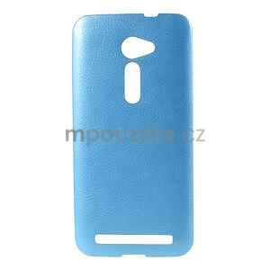 Gelový kryt s imitací kůže Asus Zenfone 2 ZE500CL - modrý - 1