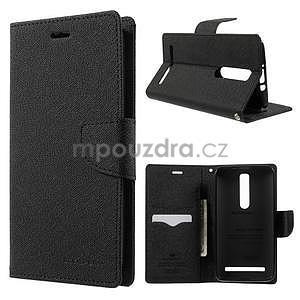 Zapínací PU kožené pouzdro na Asus Zenfone 2 ZE551ML - černé - 1
