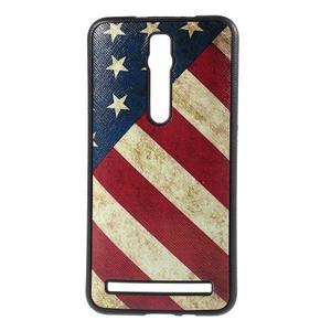 Gelový kryt s imitací vroubkované kůže pro Asus Zenfone 2 ZE551ML - vlajka USA - 1