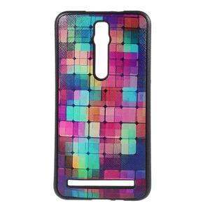 Gelový kryt s imitací vroubkované kůže pro Asus Zenfone 2 ZE551ML - mozaika barev - 1