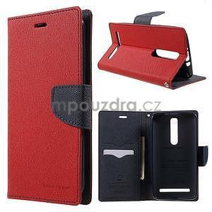 Zapínací PU kožené pouzdro na Asus Zenfone 2 ZE551ML - červené - 1