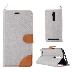 Šedé peněženkové látkové/PU kožené pouzdro pro Asus Zenfone 2 ZE551ML - 1