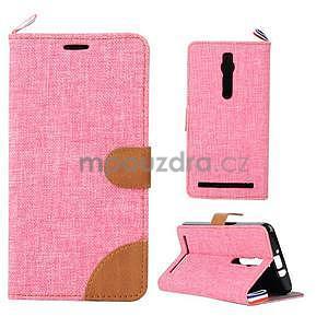Růžové peněženkové látkové/PU kožené pouzdro pro Asus Zenfone 2 ZE551ML - 1