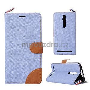 Světle modré peněženkové látkové/PU kožené pouzdro pro Asus Zenfone 2 ZE551ML - 1