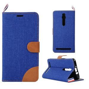 Modré peněženkové PU kožené pouzdro pro Asus Zenfone 2 ZE551ML - 1