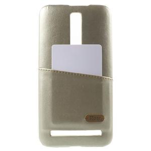 Champagne PU kožený/plastový kryt na Asus Zenfone 2 ZE551ML - 1