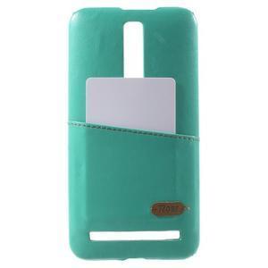 Azurový PU kožený/plastový kryt na Asus Zenfone 2 ZE551ML - 1