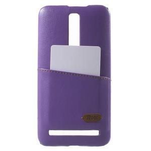 Fialový PU kožený/plastový kryt na Asus Zenfone 2 ZE551ML - 1