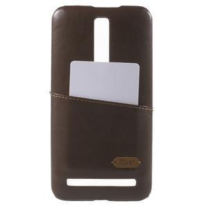 Hnědý PU kožený/plastový kryt na Asus Zenfone 2 ZE551ML - 1