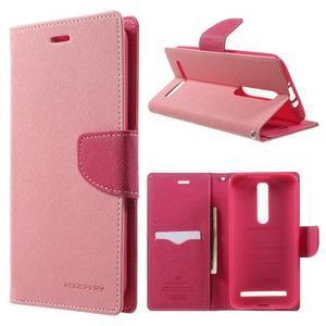 Zapínací PU kožené pouzdro na Asus Zenfone 2 ZE551ML - růžové - 1