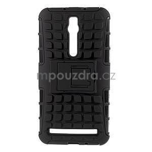 Vysoce odolný gelový kryt se stojánkem pro Asus Zenfone 2 ZE551ML - černý - 1