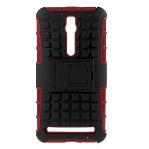 Vysoce odolný gelový kryt se stojánkem pro Asus Zenefone 2 ZE551ML - červený - 1
