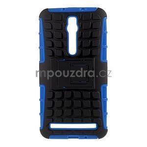 Vysoce odolný gelový kryt se stojánkem pro Asus Zenfone 2 ZE551ML - modrý - 1