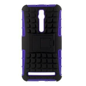 Vysoce odolný gelový kryt se stojánkem pro Asus Zenefone 2 ZE551ML - fialový - 1