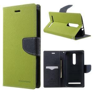 Zapínací PU kožené pouzdro na Asus Zenfone 2 ZE551ML - zelené - 1