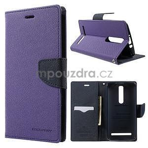 Zapínací PU kožené pouzdro na Asus Zenfone 2 ZE551ML - fialové - 1