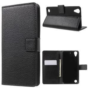 Peněženkové PU kožené pouzdro na HTC Desire 530 a Desire 630 - černé - 1