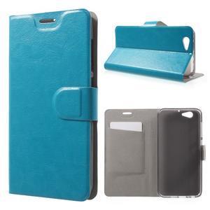 Horse PU kožené puzdro pre mobil HTC One A9s - modré - 1
