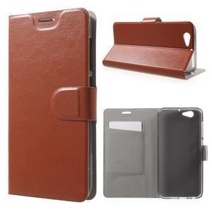 Horse PU kožené puzdro pre mobil HTC One A9s - hnedé - 1