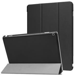 Trifold polohovatelné PU kožené pouzdro na Huawei MediaPad M3 Lite 10 - černé - 1