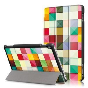 Emotive polohovatelné pouzdro na Huawei MediaPad M3 Lite 10 - barevné čtverečky - 1
