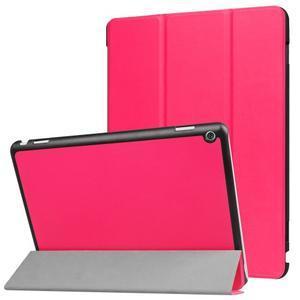Trifold polohovatelné PU kožené pouzdro na Huawei MediaPad M3 Lite 10 - rose - 1